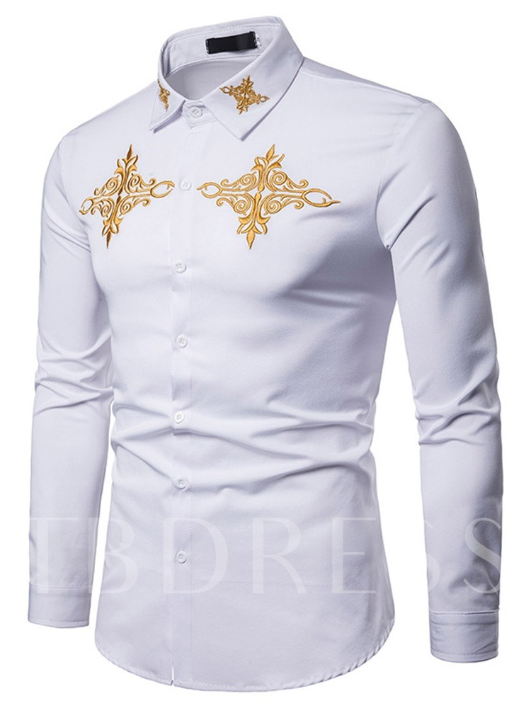 Embroidery Plain Slim Men's Leisure Shirt