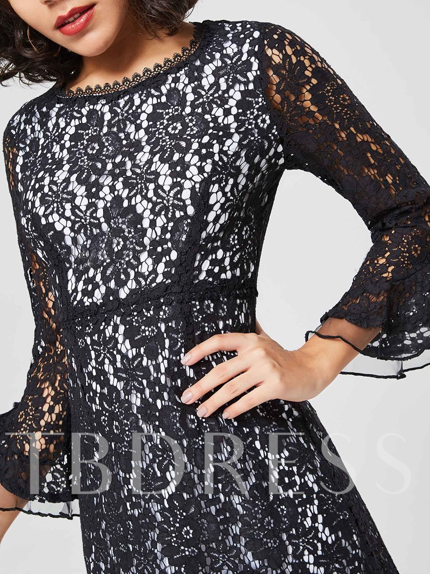 Round Neck Flare Sleeve Women's Lace Dress