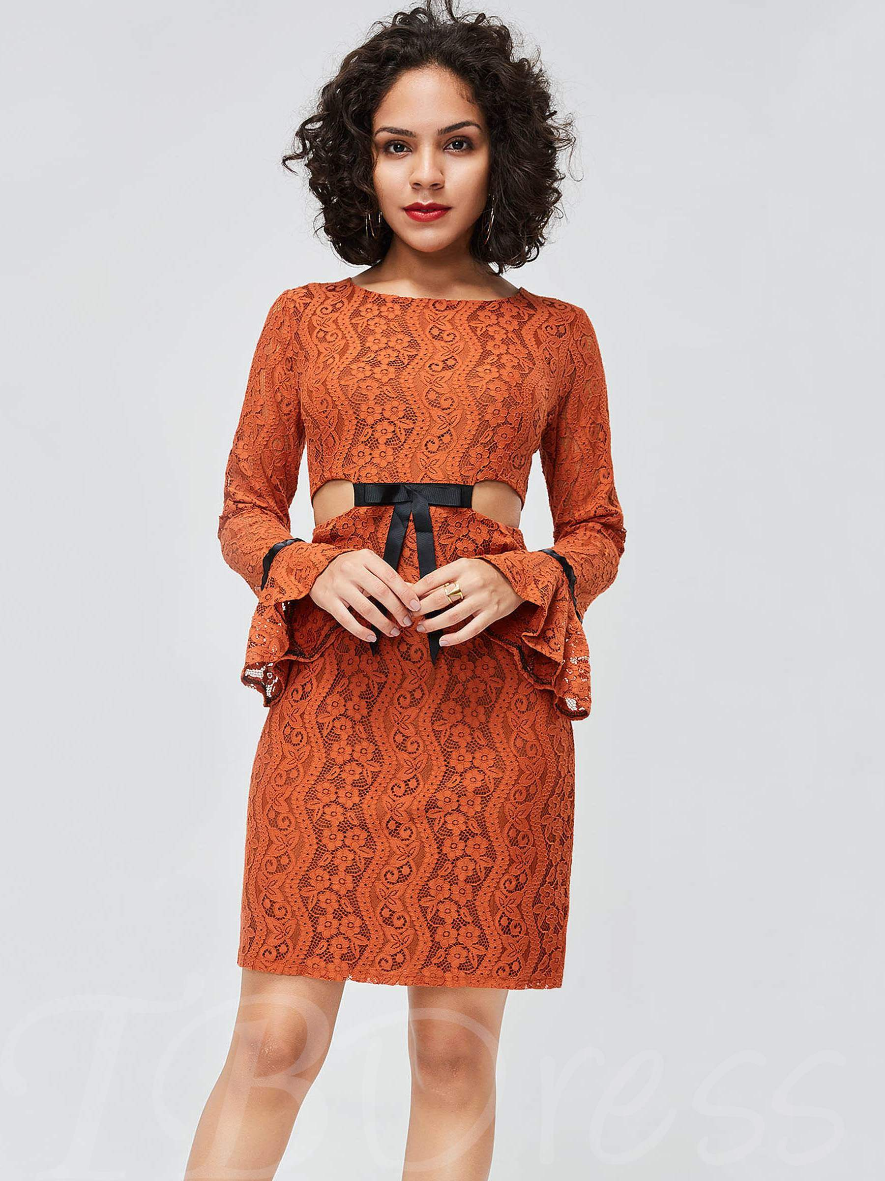 Buy Flare Sleeve Round Neck Lace Dress, Spring,Fall,Winter, 13369672 for $19.60 in TBDress store