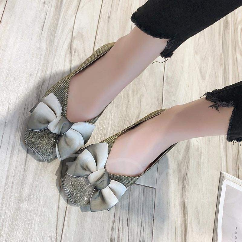 Buy Block Heel Square Toe Bow Slip-On Stylish Women's Flats, Spring,Summer,Fall, 13383702 for $23.52 in TBDress store
