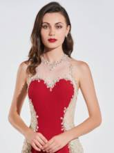 Mermaid Beading Lace Scoop Backless Evening Dress