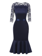 Dark Blue Lace Patchwork Women's Fishtail Dress