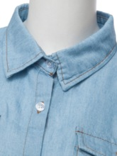 Single-Breasted Denim Blue Slim Fit Women's Shirt