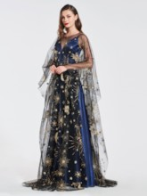 Straps A-Line Prom Dress with Pattern Cape