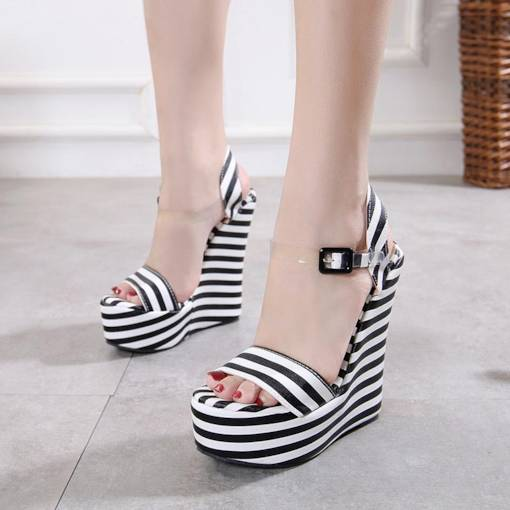 Ankle Strap Wedge Heel Platform Buckle Sandals for Women
