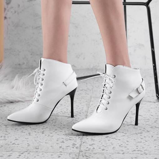 Pointed Toe Lace-Up Front Stiletto Heel Women's Ankle Boots