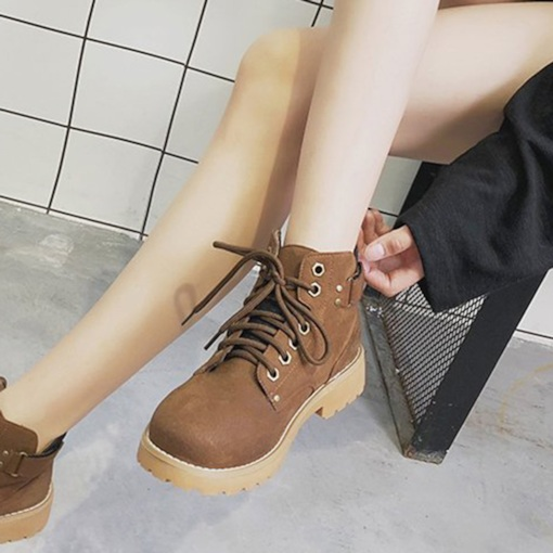 Lace-Up Front Suede Block Heel Martin Boots for Women