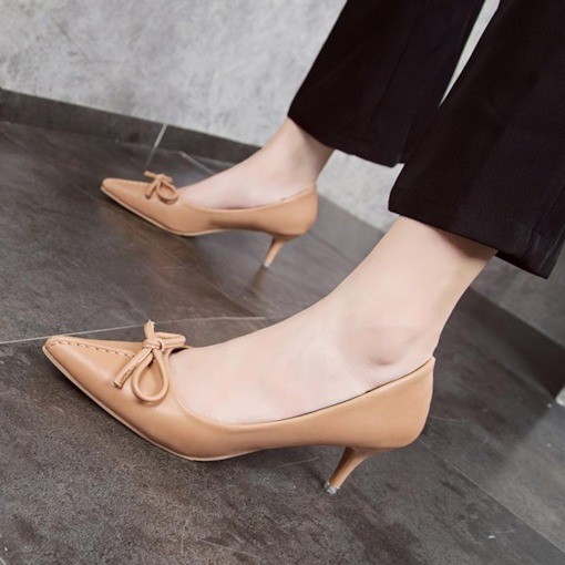 Pointed Toe Stiletto Heel Slip-On Bow Thread Women's Pumps