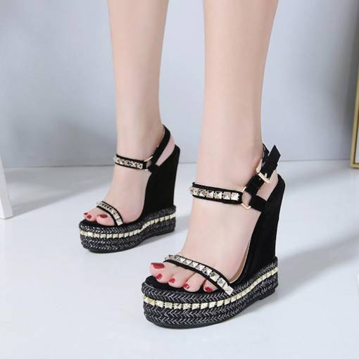 Suede Open Toe Wedge Heel Ankle Strap Rivet Sandals for Women