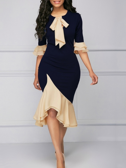 Half Sleeve Bow Collar Lace-Up Fall Women's Bodycon Dress