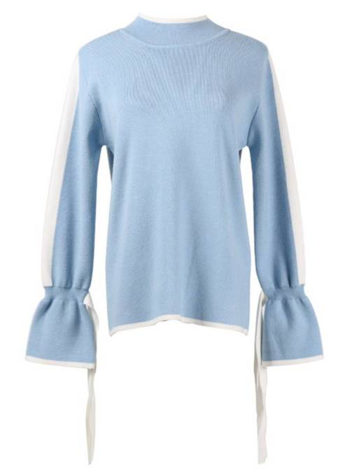 Flare Sleeve Lace Up Scoop Neck Women's Sweater