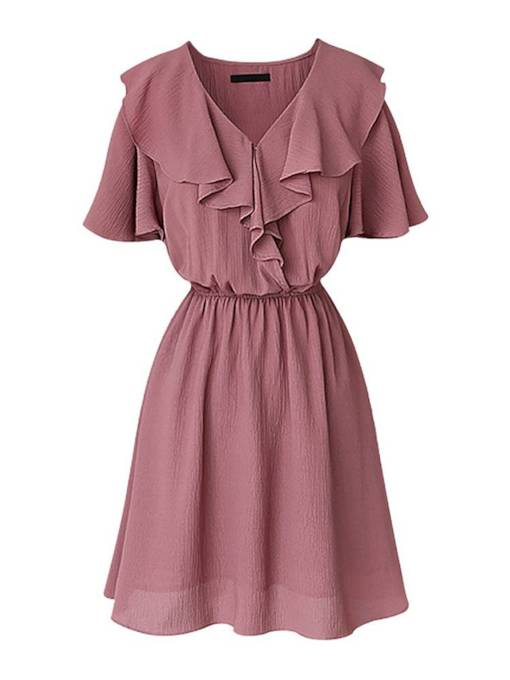 Ruffle Neck Short Sleeve High Waist Dress