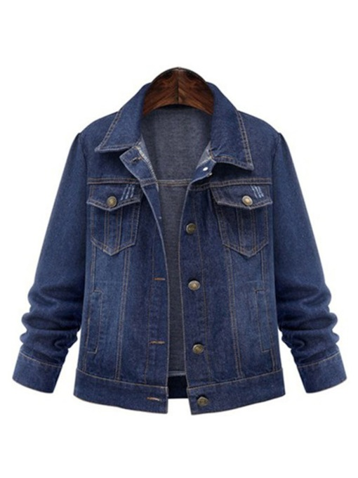 Double-Pocket Single-Breasted Lapel Women's Denim Jacket