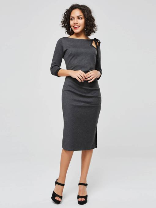 Round Neck Long Sleeve Sheath Dress