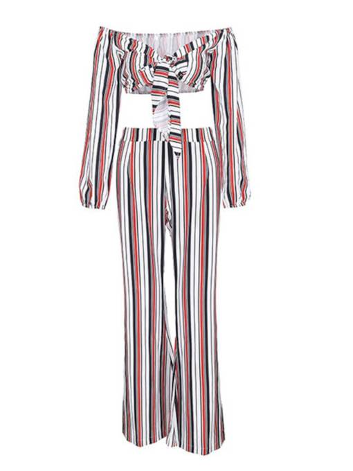 Striped Tie Front Top and Pants Women's Two Piece Set