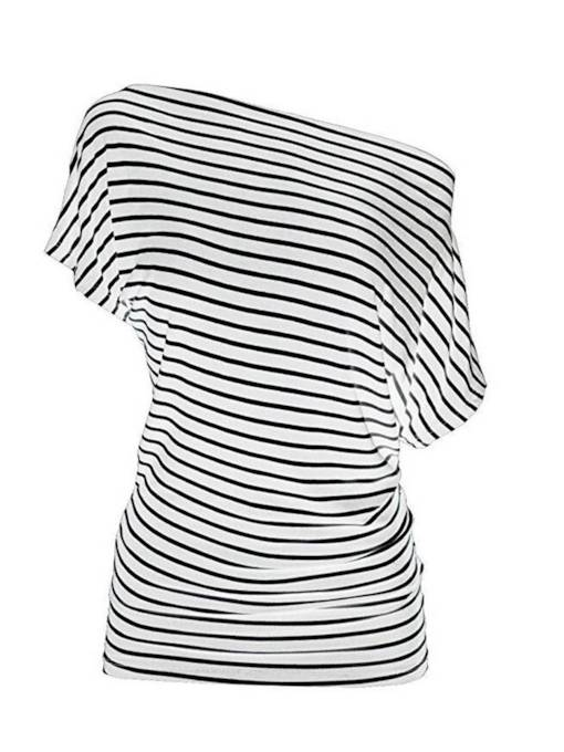 Ruched Batwing Sleeve Off Shoulder Stripe Women's T-Shirt