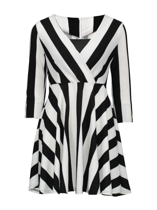 V Neck Striped Women's Day Dress