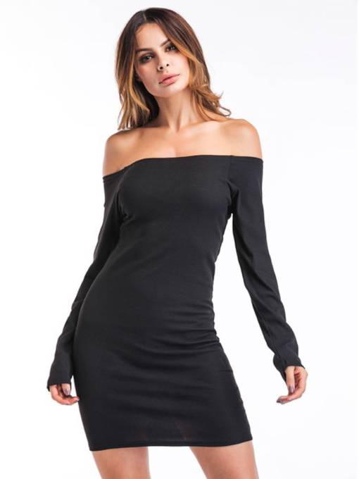 Off Shoulder Long Sleeve Backless Dress