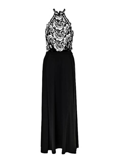 Black Halter Lace Patchwork Women's Maxi Dress