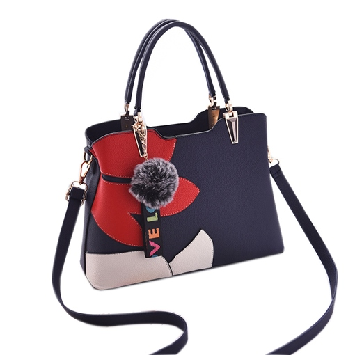 Color Block Patchwork Zipper Women Tote Bag