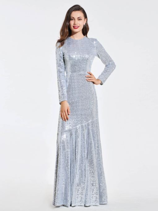 Sheath Long Sleeves Zipper-Up Scoop Sequins Evening Dress