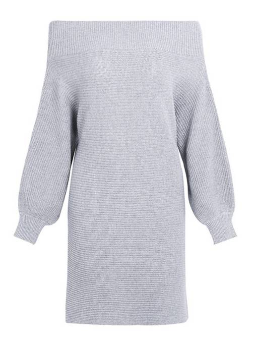Off Shoulder Gray Women's Sweater Dress