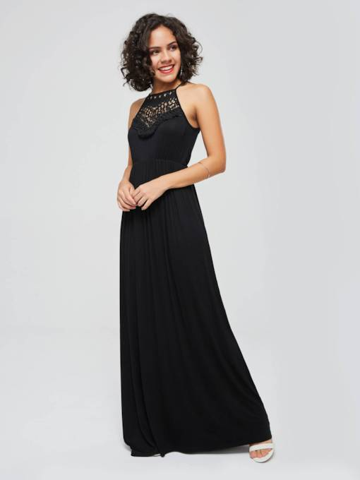 Sleeveless High Waist Lace Plain Maxi Dress