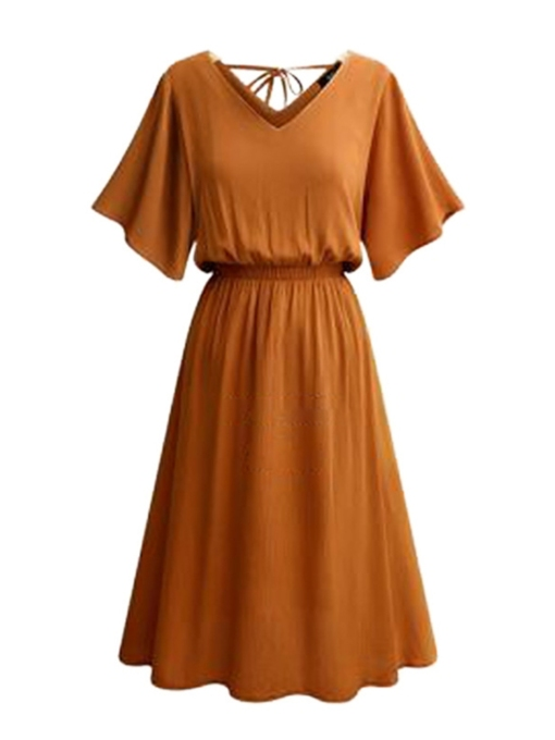 Flare Sleeve High Waist A-Line Dress
