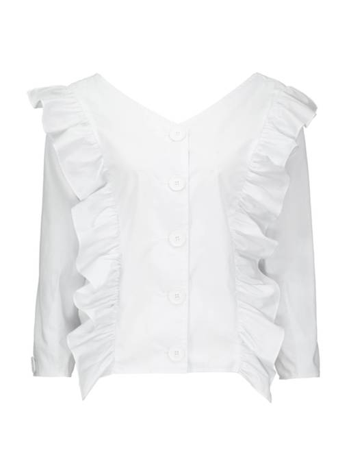 Frilled Pleated Single-Breasted V-Neck Women's Blouse
