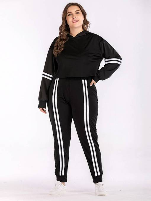 Color Block Striped Hoodie and Pants Women's Two Piece Set