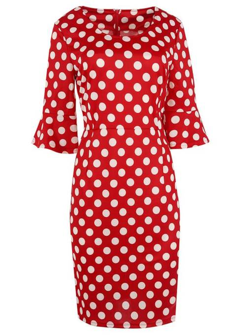 Flare Sleeve Polka Dots Women Sheath Dress