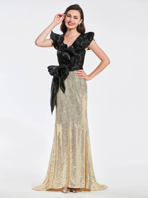 Reflective Dress V-Neck Trumpet Bowknot Sequins Evening Dress