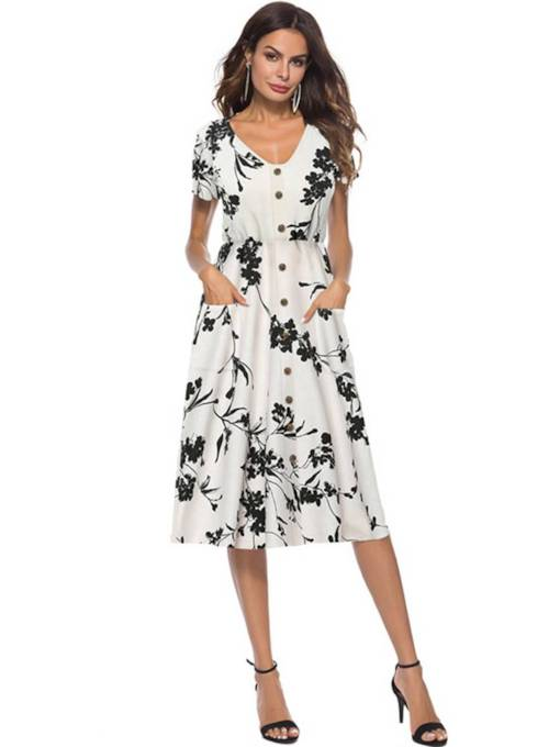 Single-Breasted Pockets Printing Women's Day Dress