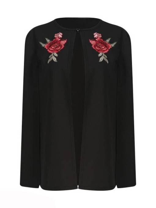 Floral Embroidery Plus Size Women's Cape Blazer