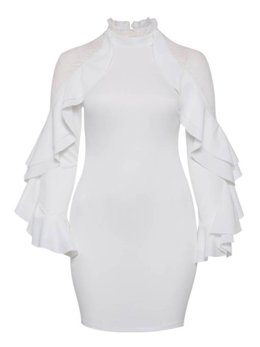 Plus Size White Elegant Lace Bodycon Dress