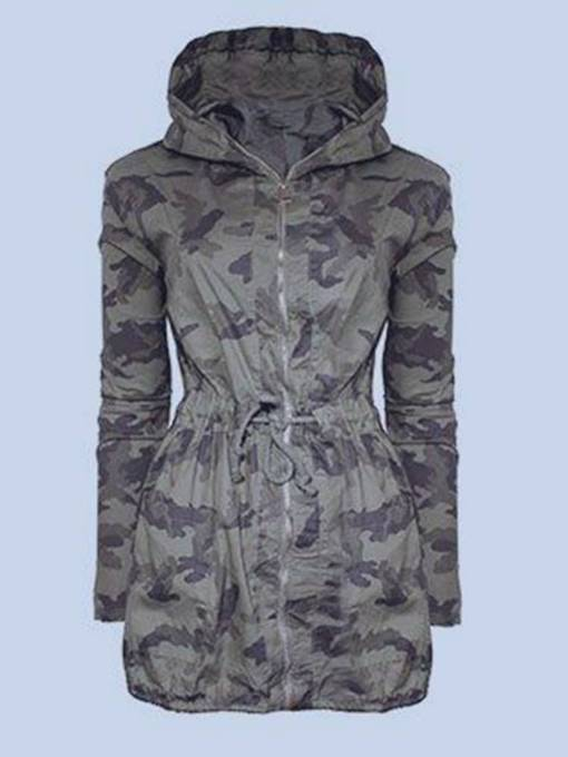 Army Green Drawstring Tight Waist Hooded Women's Jacket