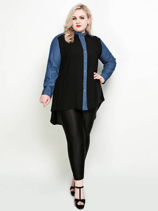 Irregular Hem Plus Size Color Block Women's Shirt
