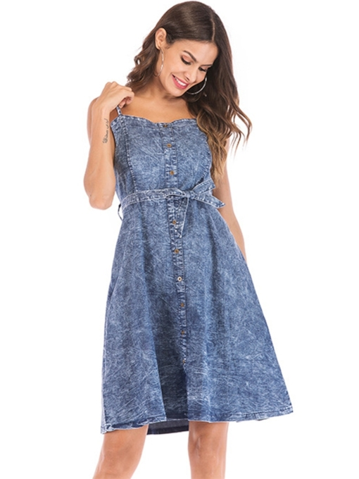 Denim Strappy Lace up Women's Day Dress