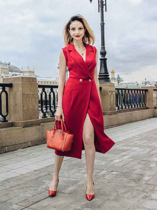 Red Sleeveless High Waist Button Day Dress