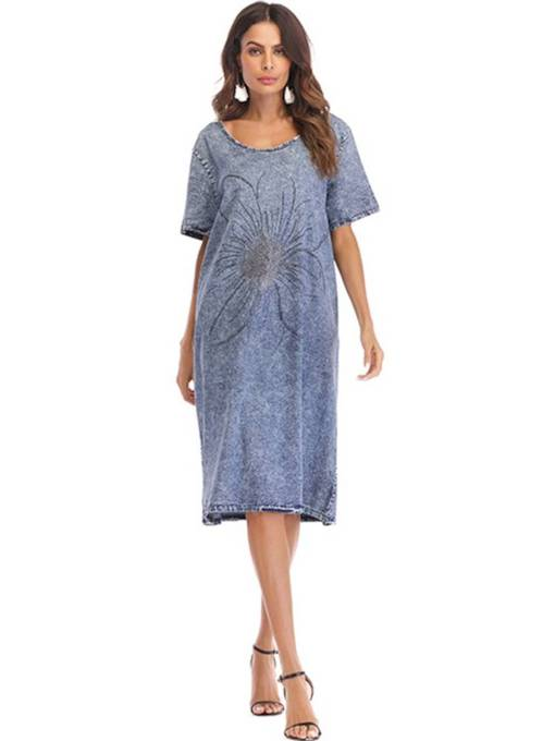 Knee-Length Loose Light Blue Women's Day Dress