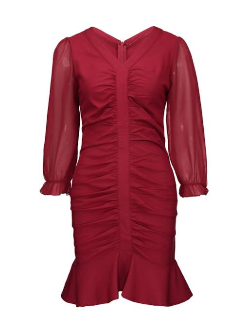 Red Ruffled V Neck Women's Bodycon Dress