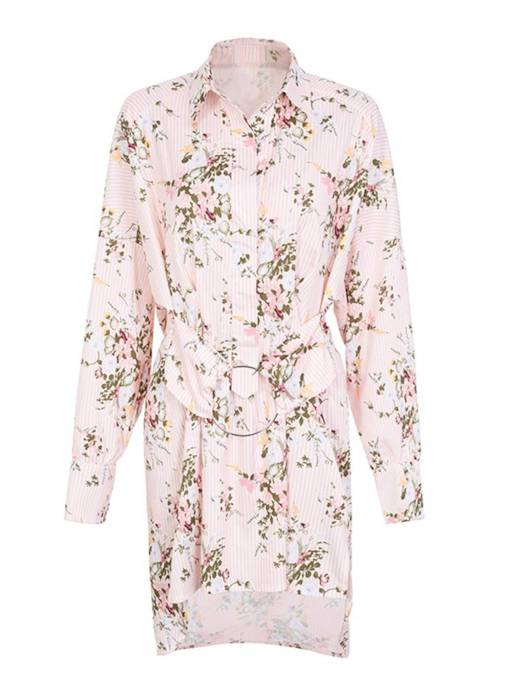 Pink Floral Lace up Women's Shirt Dress