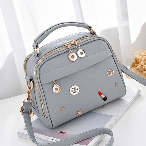 Fashion Embossed Zipper Solid Color Women Crossbody Bag