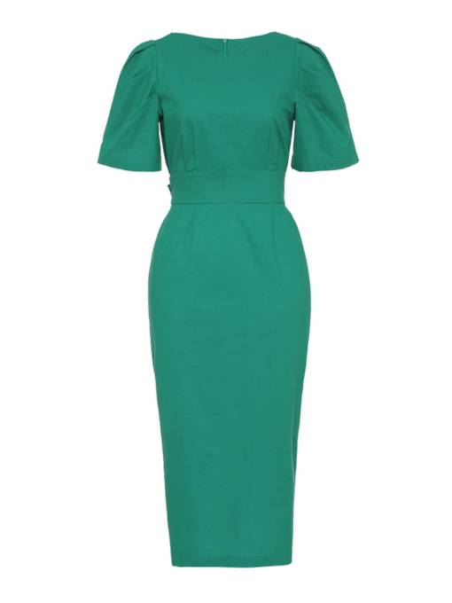 Green Short Sleeve Women's Sheath Dress
