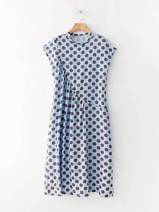 Blue Ruffled Polka Dots Women's Day Dress
