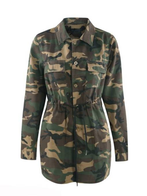 Army Green Tight Waist Lace Up Plus Size Women's Jacket