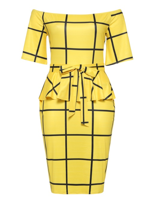Plus Size Yellow Belt Prints Elegant Bodycon Dress