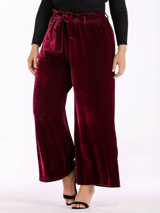 Plus Size Velvet High Waist Lace-Up Women's Casual Pants