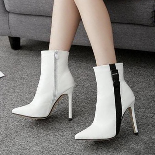 Pointed Toe Side Zipper Stiletto Heel Buckle Women's Ankle Boots