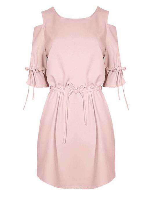 Lace up Cold Shoulder Women's Day Dress